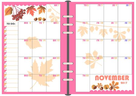 organizer: Calendar Daily Planner Template for Monthly November 2017. Note Paper format A-5 with Vector. Organizer and Schedule with place for Notes