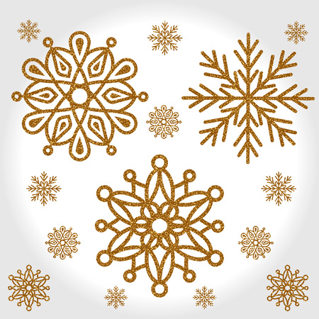 Elegant set of the three Shining Gold Snowflakes on a light gray background. Vector illustration. EPS8.