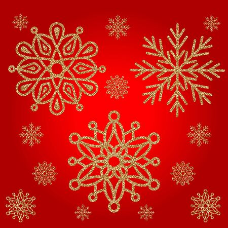 Elegant set of the three Shining Gold Snowflakes on a red background. Vector illustration. EPS8. Illustration