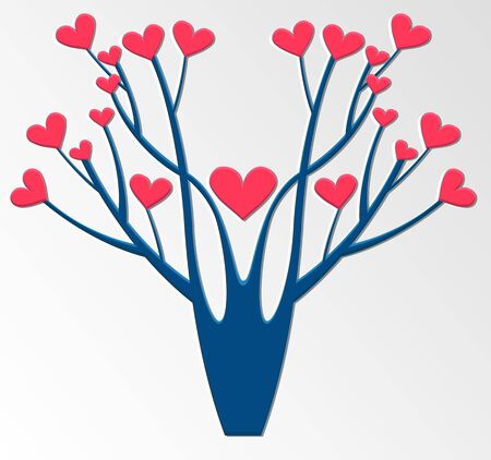Stylized tree with hearts. Vector illustration. Valentines Day.