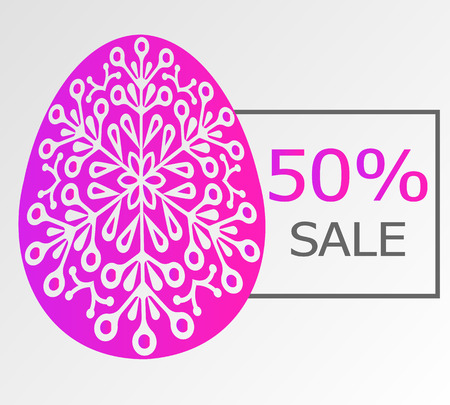 Easter sale 50 percent on the frame.  Purple ornamentical egg. Background for flyer Vectores
