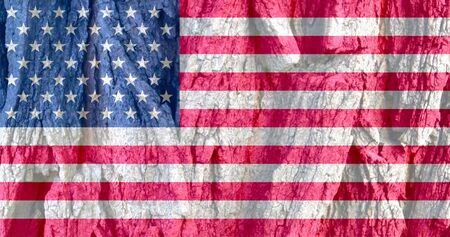 USA flag on bark texture background. Background for greeting cards for US public holidays. Day of Remembrance. Independence Day. Day of Remembrance and Reconciliation. American Flag Day.