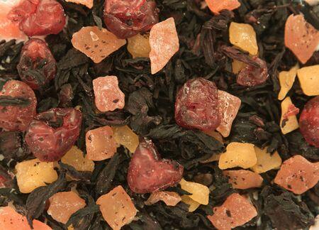 Chinese tea. Hibiscus fruit tea. Tea background, texture. Blank for label or design. Zdjęcie Seryjne