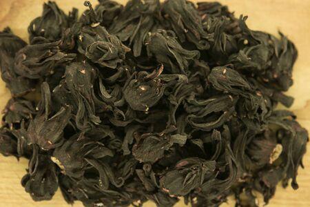Egyptian tea. Hibiscus tea. Tea background, texture. Blank for label or design. Zdjęcie Seryjne