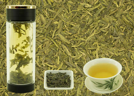 Chinese green tea Lundzin. Blank for label or design on tea background before preparation. Content for the designer.