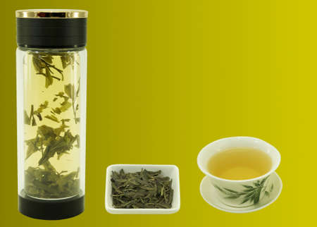 Chinese green tea Lundzin. Blank for label or design on harmonious color backgrounds. Content for the designer.