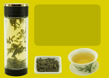 Chinese green tea Lundzin. Blank for label or design on harmonious color backgrounds. Content for the designer. Reklamní fotografie - 151148719