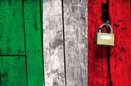 The Italy flag is in texture. Template. Coronavirus pandemic. Countries are closed. Locks.