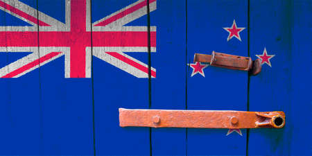 New zealand flag is on texture. Template. Coronavirus pandemic. Countries are closed. Locks.