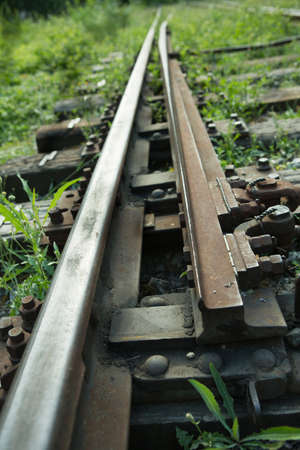 Railway equipment. Turnout mechanism on railway tracks.