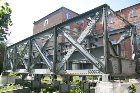 The old railway bridge. Steel structure truss assembly. Built in the middle of the 20th century.