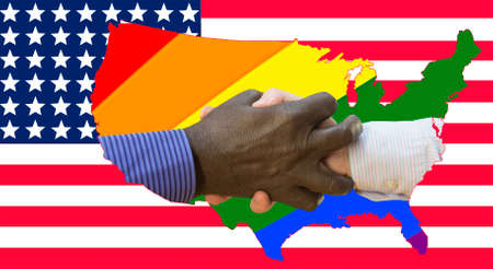 Black lives matter. Close up photo of a handshake between afroamerican and european hands. Handshake in front of us flag and rainbows.