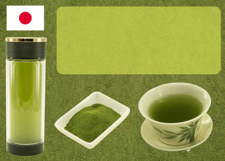 Japanese tea. Macha green tea. Blank for label or design on tea background before preparation. Content for the designer.
