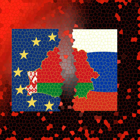 The flag of Belarus is inscribed in the contour map of the country. Map on the background of the flags of European Union and Russia.