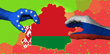 The flag of Belarus is inscribed in the contour map of the country. Hands with applied flags of the European Union and Russia are stretching the map of Belarus. Stockfoto