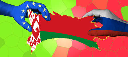 The flag of Belarus is inscribed in the contour map of the country. Hands with applied flags of the European Union and Russia are stretching the map of Belarus. Foto de archivo