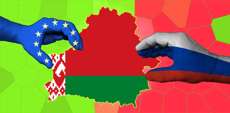 The flag of Belarus is inscribed in the contour map of the country. Hands with applied flags of the European Union and Russia are stretching the map of Belarus. Banco de Imagens
