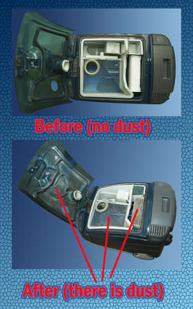 The process of cleaning a room with a vacuum cleaner with an aquafilter. Vacuum cleaner before and after cleaning with clean and dirty filters. Comparison. Foto de archivo