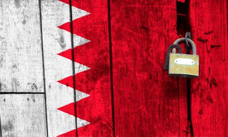 Bahrain flag is on texture. Template. Coronavirus pandemic. Countries may be closed. Locks.