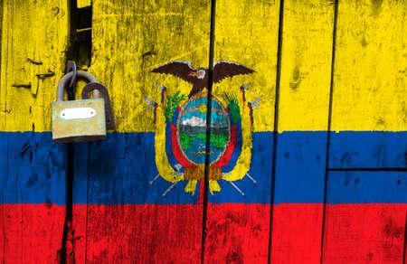 Ecuador flag is on texture. Template. Coronavirus pandemic. Countries may be closed. Locks.