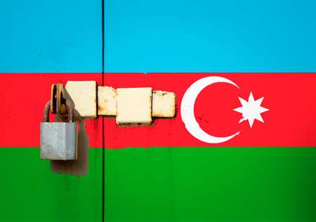 Azerbaijan flag is on texture. Template. Coronavirus pandemic. Countries may be closed. Locks.