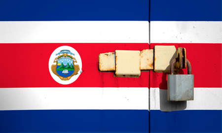 Flag of Costa Rica is on texture. Template. Coronavirus pandemic. Countries may be closed. Locks.