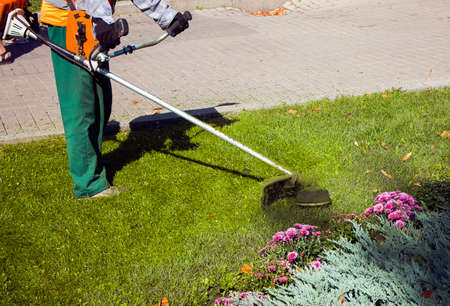 Autumn work in the park. The gardener cuts the grass before winter. Stock Photo