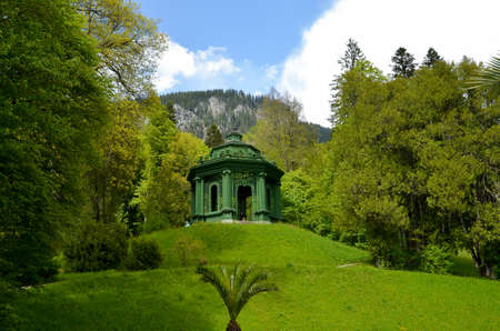 View to the wooden Music Pavilion. Linderhof Castle of King Ludwig in Bavaria Germany Standard-Bild