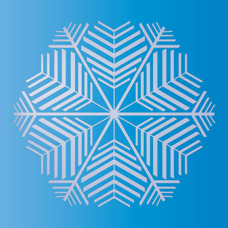 White snowflake isolated on blue. New Year's content for the designer. Winter theme.
