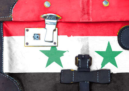 Syria flag is on texture. Template. Coronavirus pandemic. Countries may be closed. Locks.
