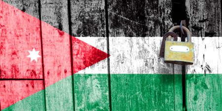 Jordan flag is on texture. Template. Coronavirus pandemic. Countries may be closed. Locks.