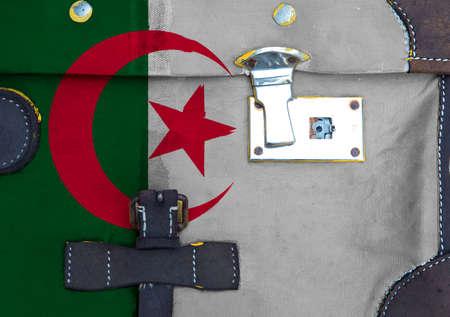 Algeria flag is on texture. Template. Coronavirus pandemic. Countries may be closed. Locks. Foto de archivo