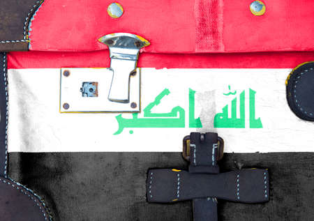 Iraq flag flag is on texture. Template. Coronavirus pandemic. Countries may be closed. Locks.