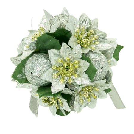 Ball with Christmas flowers. Christmas decoration. Isolate. Blank for the pattern. Content for the designer.