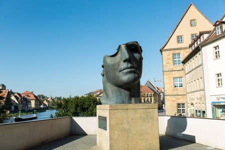 Bamberg, Bavaria, Germany - 10.16.2016: sculpture Head of the Centurion. Bronze statue by Polish born sculptor Igor Mitoraj in Bamberg Editorial