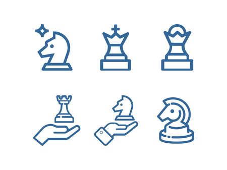 Chess line icon set. Strategy