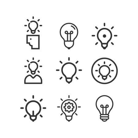 Idea, business line icon set. Creative. Light bulb. Electricity