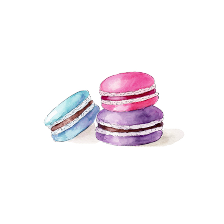 Color macarons on white background, watercolor hand drawn illustration