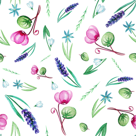 Cute seamless pattern of spring flowers1 Watercolor flowers on white background. 写真素材