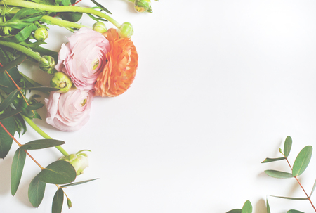 Frame of flowers, pink and orange ranunculus flowers and eucalyptus branches on white background. Flat lay, top view.