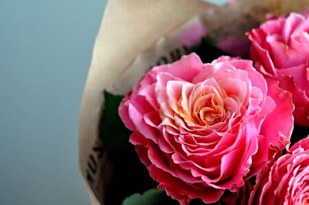 Bouquet of fresh roses, flower bright background. Closeup. 写真素材