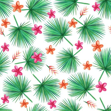 Watercolor  green palm leaves on a white background.  Orchid, Plumeria, Heliconia Flowers. Seamless pattern. Hand illustration.