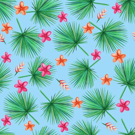 Watercolor  green palm leaves on a blue background.  Orchid, Plumeria, Heliconia Flowers. Seamless pattern. Hand illustration.