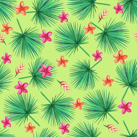 Watercolor  green palm leaves on a green background.  Orchid, Plumeria, Heliconia Flowers. Seamless pattern. Hand illustration.