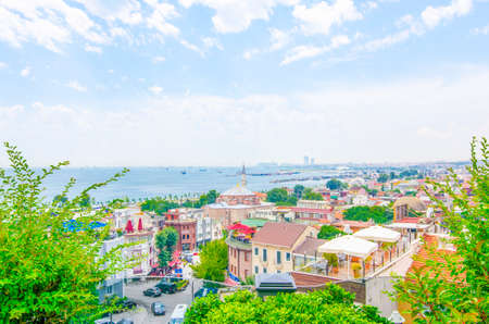 View over Istanbuls dense residential area. Fatih district on a beautiful sunny summer day