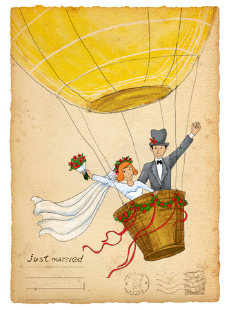 Vintage wedding invitation. Funny bride and groom flying on air balloon Imagens