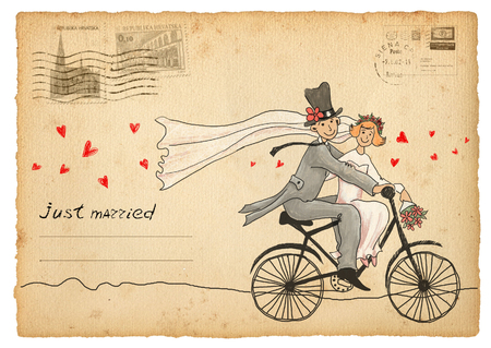 Vintage wedding greetings card. travelling groom and bride on a bicycle