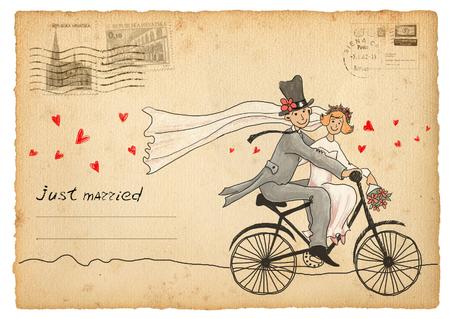 matrimonio feliz: Tarjeta de felicitaciones de boda de la vendimia. viajando novio y la novia en una bicicleta