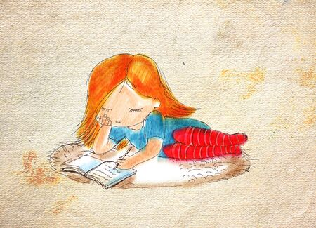Writing girl with red hair, lying on the carpet Imagens