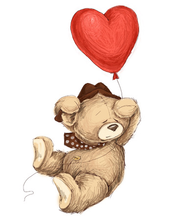 teddy bear flying witn red baloon